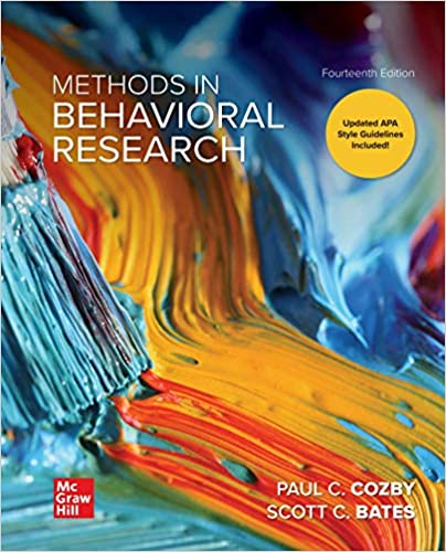 Test Bank for Methods in Behavioral Research 14th Edition Cozby
